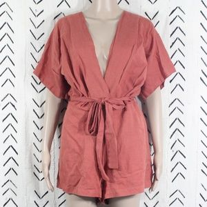 Urban Outfitters Belted Romper Burnt Orange Size 6